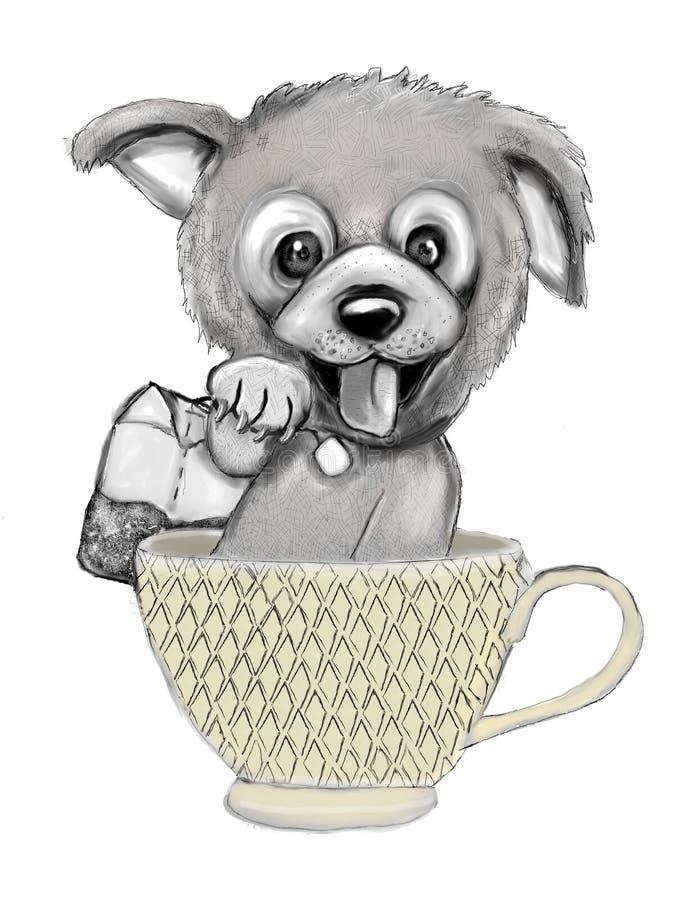 在杯子的茶狗 皇族释放例证