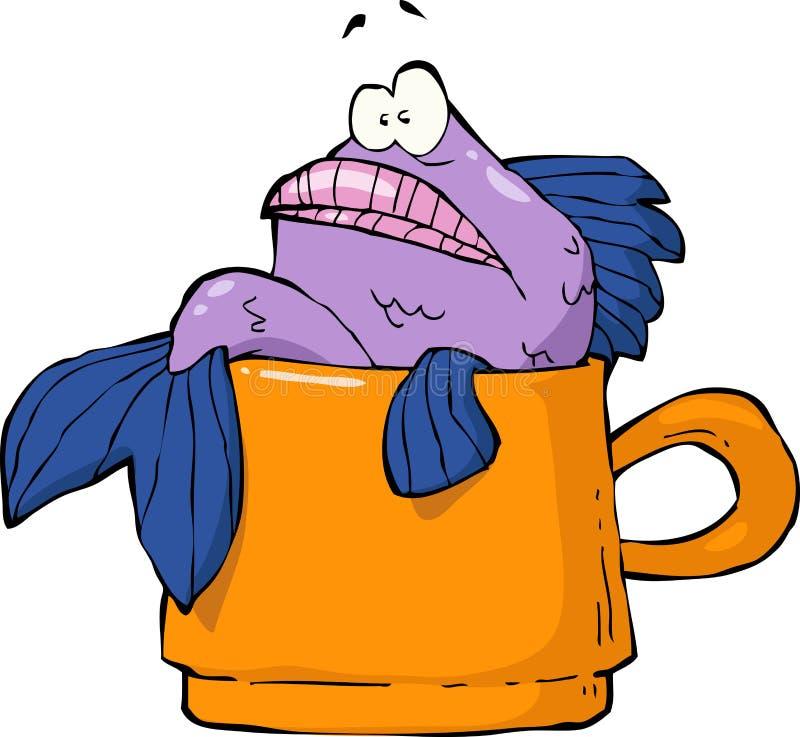 在杯子的鱼 皇族释放例证