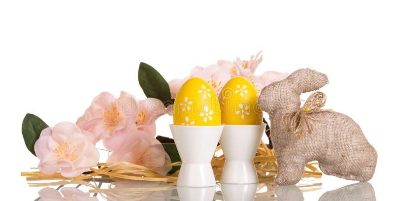 在杯子,兔宝宝,与花的分支的复活节彩蛋,被隔绝 库存照片