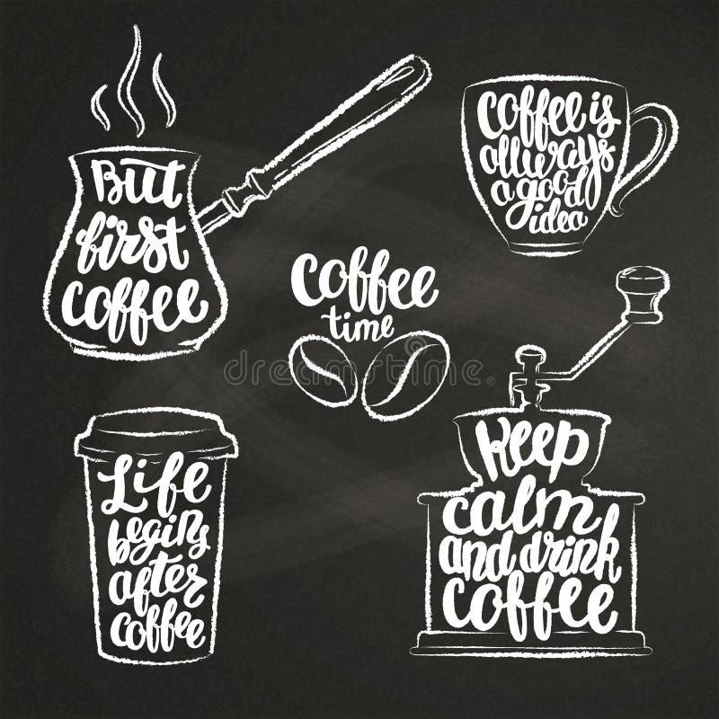 在杯子,研磨机,罐白垩的咖啡字法塑造 关于咖啡的现代书法行情 皇族释放例证