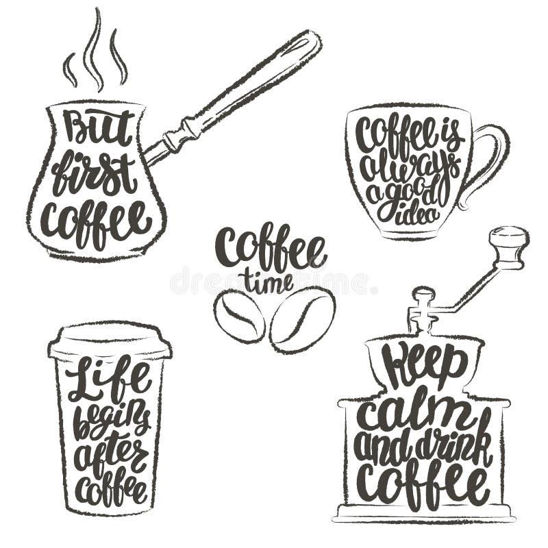 在杯子,研磨机,罐难看的东西等高的咖啡字法 关于咖啡的现代书法行情 库存例证
