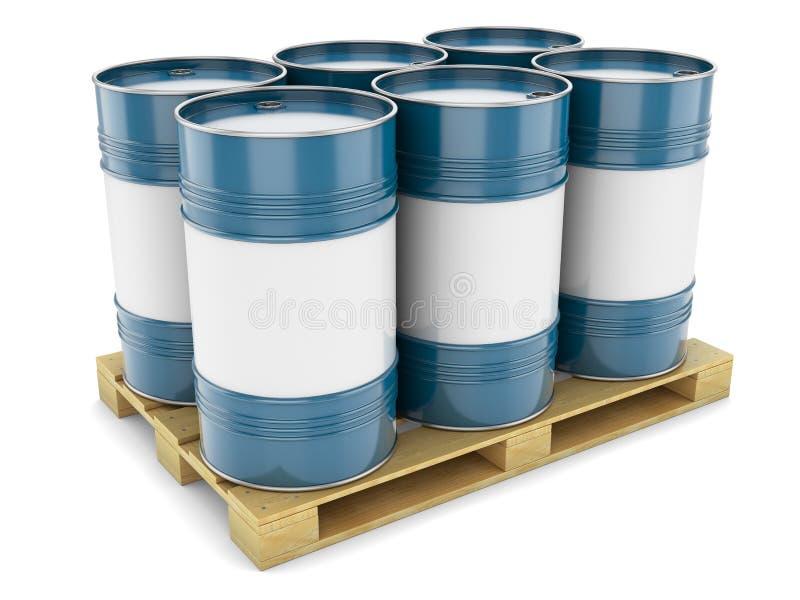 在板台的蓝色钢桶 库存例证