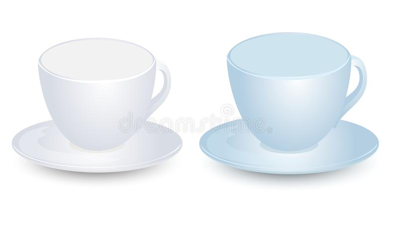 在板材传染媒介的蓝色和白色杯子大模型设计 背景查出的白色 库存例证