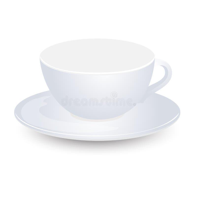 在板材传染媒介设计的白色空的杯子大模型 背景查出的白色 库存例证
