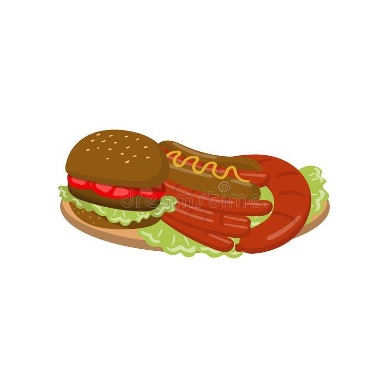 在板材动画片传染媒介例证的典型的野餐膳食 库存例证