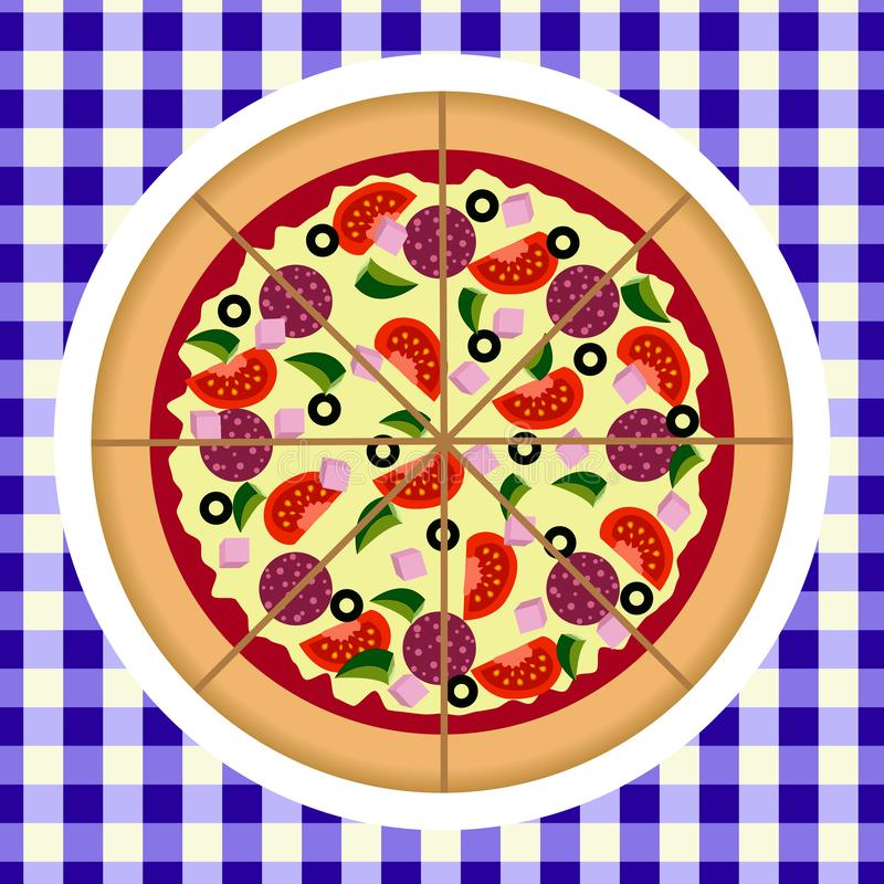 在板材和方格的桌布的平的比萨 比萨传染媒介食物菜单 r 向量例证
