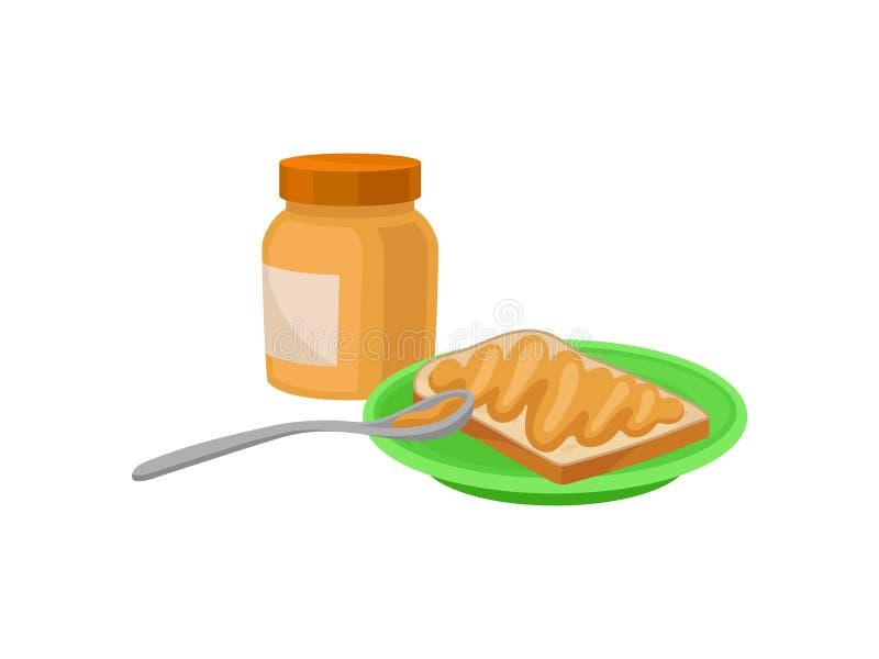 在板材和瓶子的烤面包片有花生酱的 可口早餐鲜美早晨食物 平的传染媒介设计 库存例证