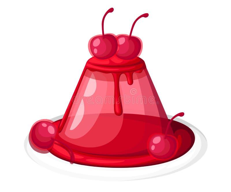在板材果子凝胶甜点的逗人喜爱的红色透明樱桃果冻装饰了在白色backgrou隔绝的樱桃例证 皇族释放例证