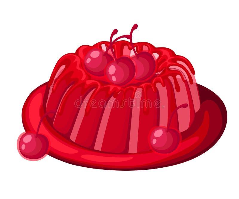 在板材果子凝胶甜点的逗人喜爱的红色透明樱桃果冻饼装饰了在白色后面隔绝的樱桃例证 向量例证