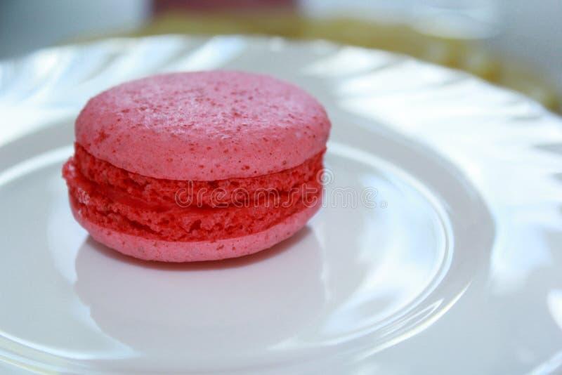 在板材的小桃红色Macaron 图库摄影