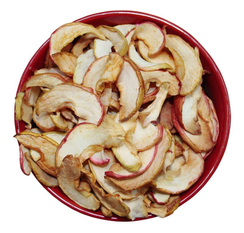 在板材的干苹果 免版税库存照片