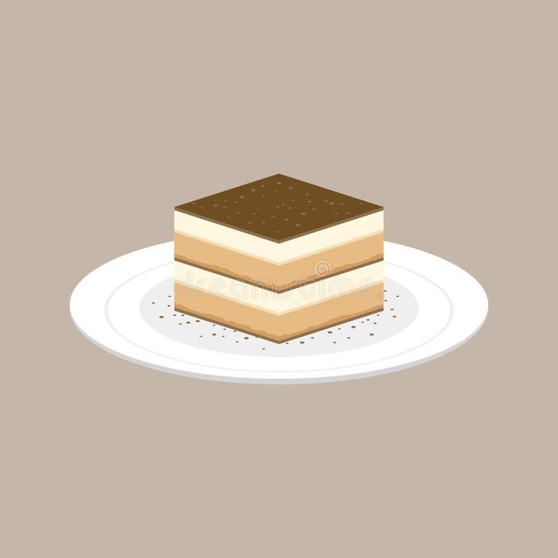 在板材的提拉米苏蛋糕意大利点心 向量例证
