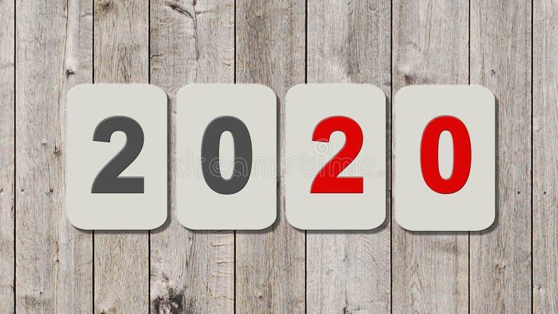 在板材的新年2020年-年变动-唯一数字图片
