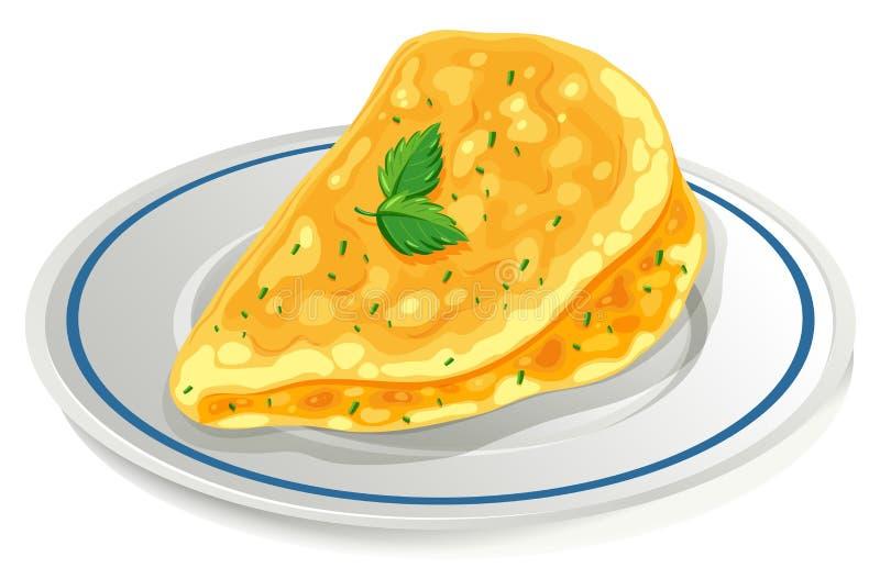 在板材的煎蛋卷 库存例证