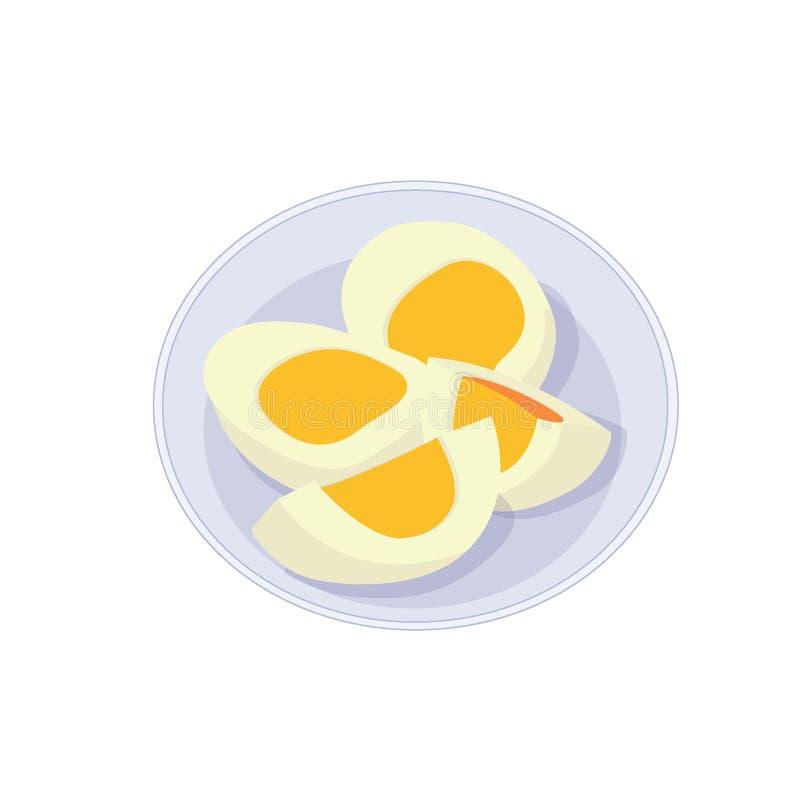 在板材的熟蛋 向量例证