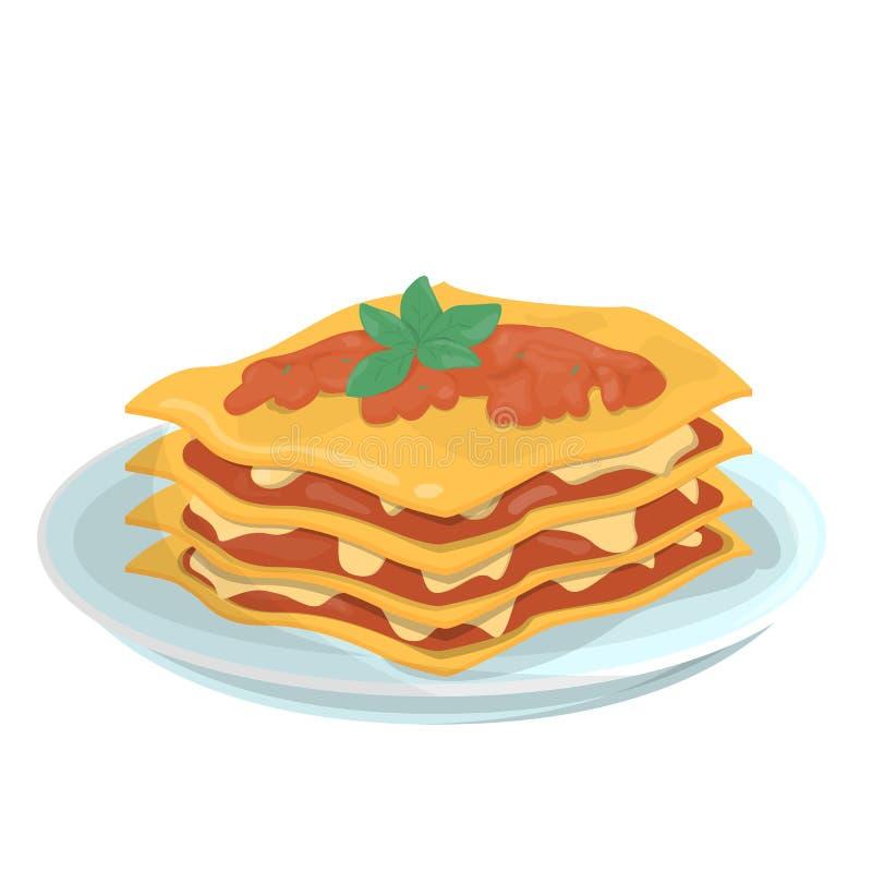 在板材的鲜美烤宽面条 意大利可口 皇族释放例证