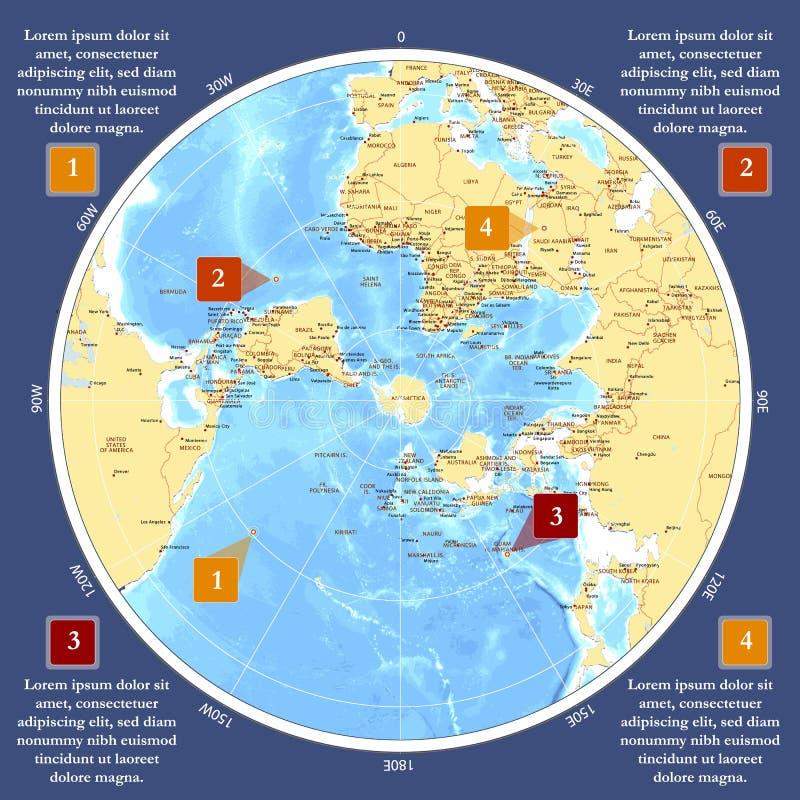 在极性投射的世界地图与栅格 南极中心 向量例证
