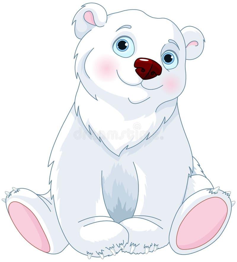 在极性树荫坐的白色的背景熊 皇族释放例证