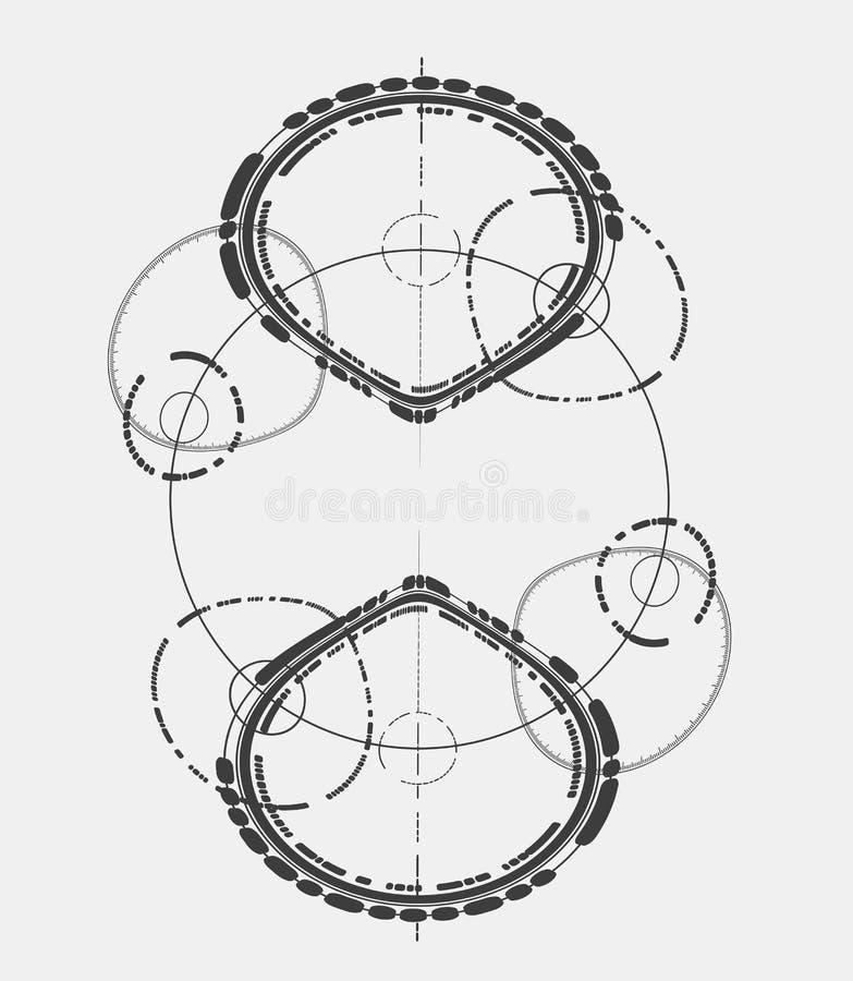 在构成主义样式的抽象设计元素 Minimalistic抽象标志 库存例证