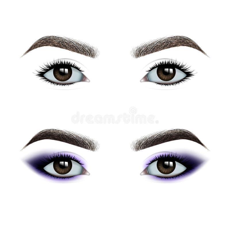 在构成前后的女性眼睛 一套眼影 皇族释放例证