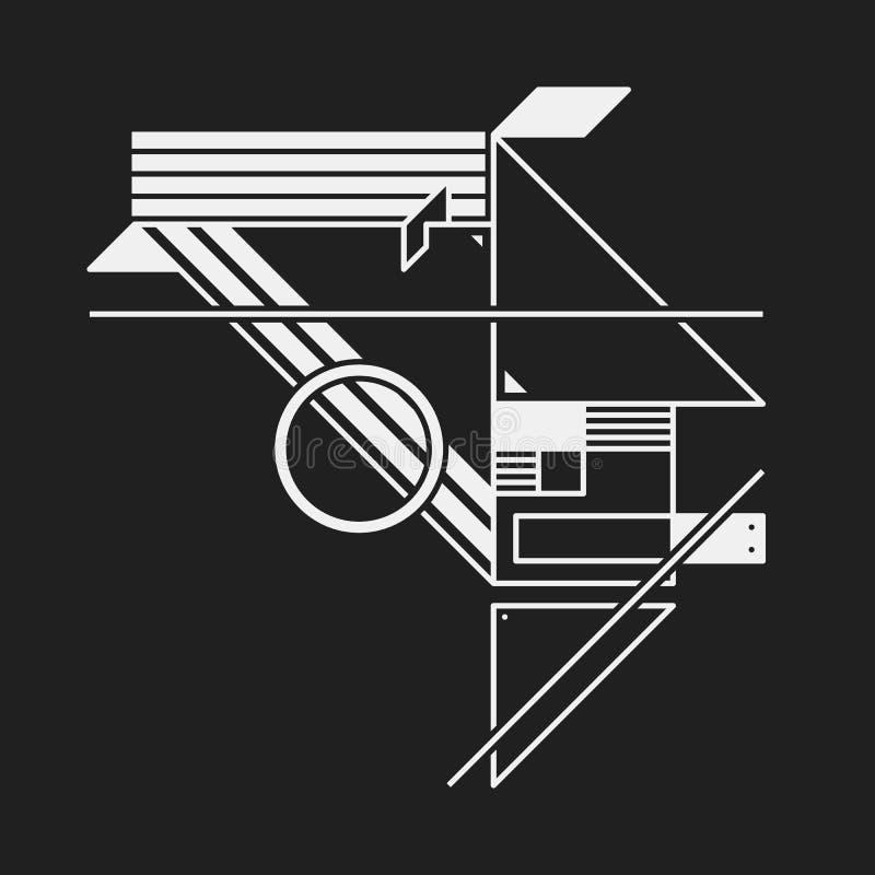 在构成主义样式的抽象设计元素 库存例证