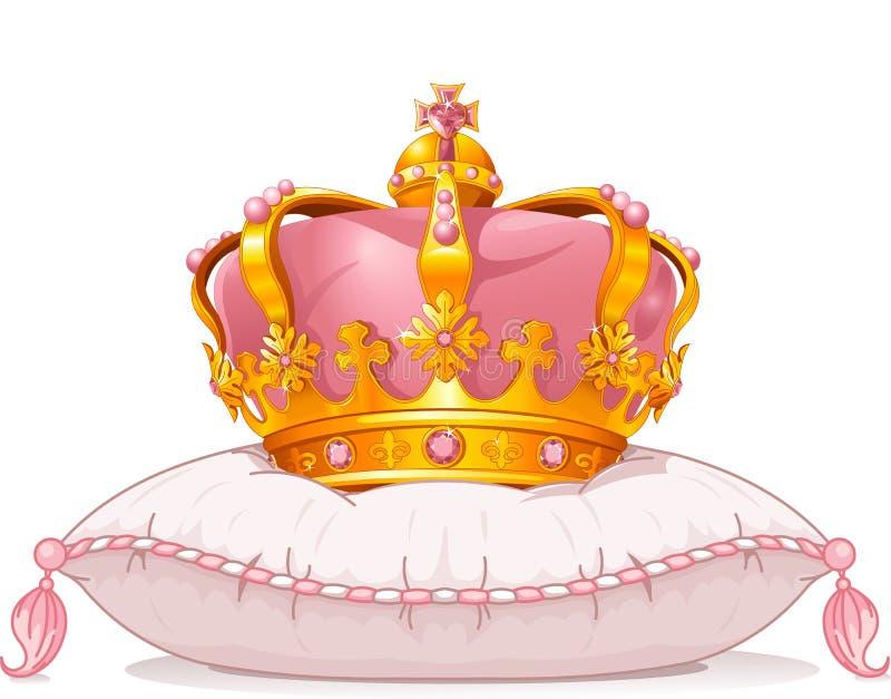 在枕头的冠 皇族释放例证