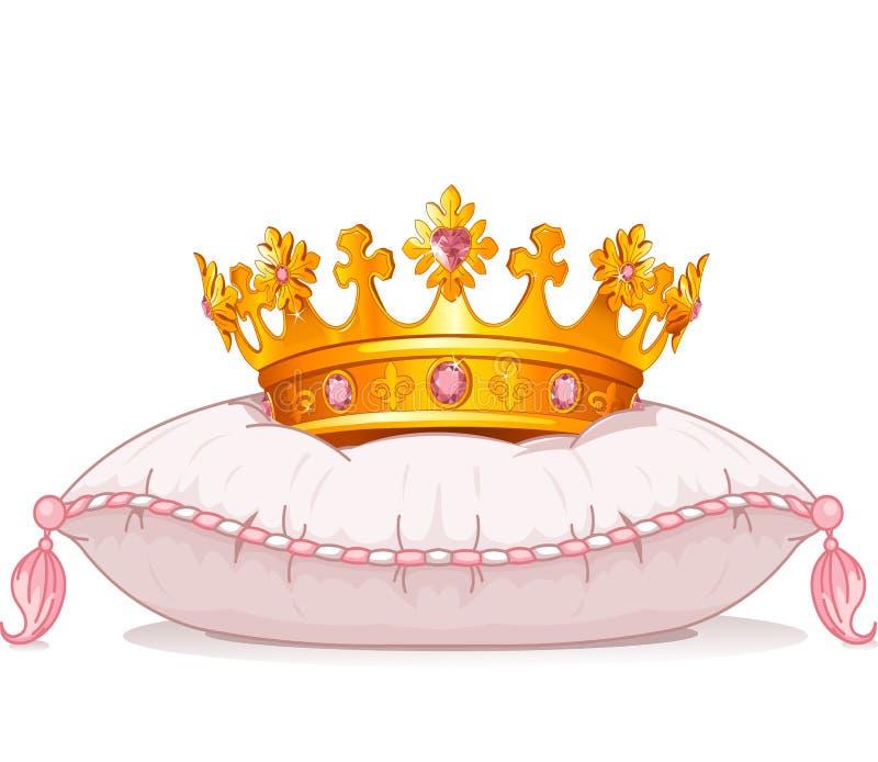 在枕头的冠 向量例证