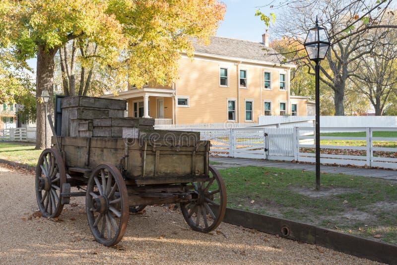 在林肯家庭全国古迹的用马拉的无盖货车 库存照片