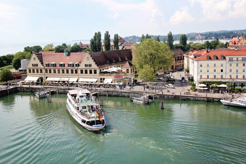 在林道口岸, Bodensee,德国的船 免版税库存照片