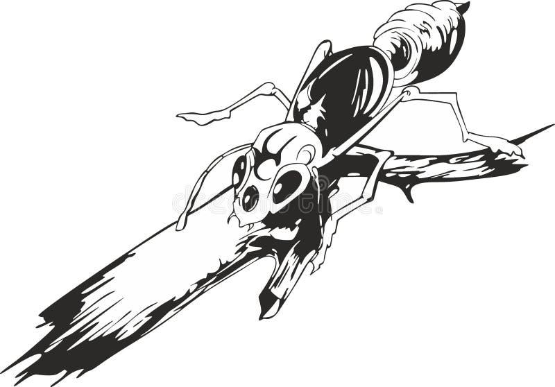 在枝杈的蚂蚁 库存例证