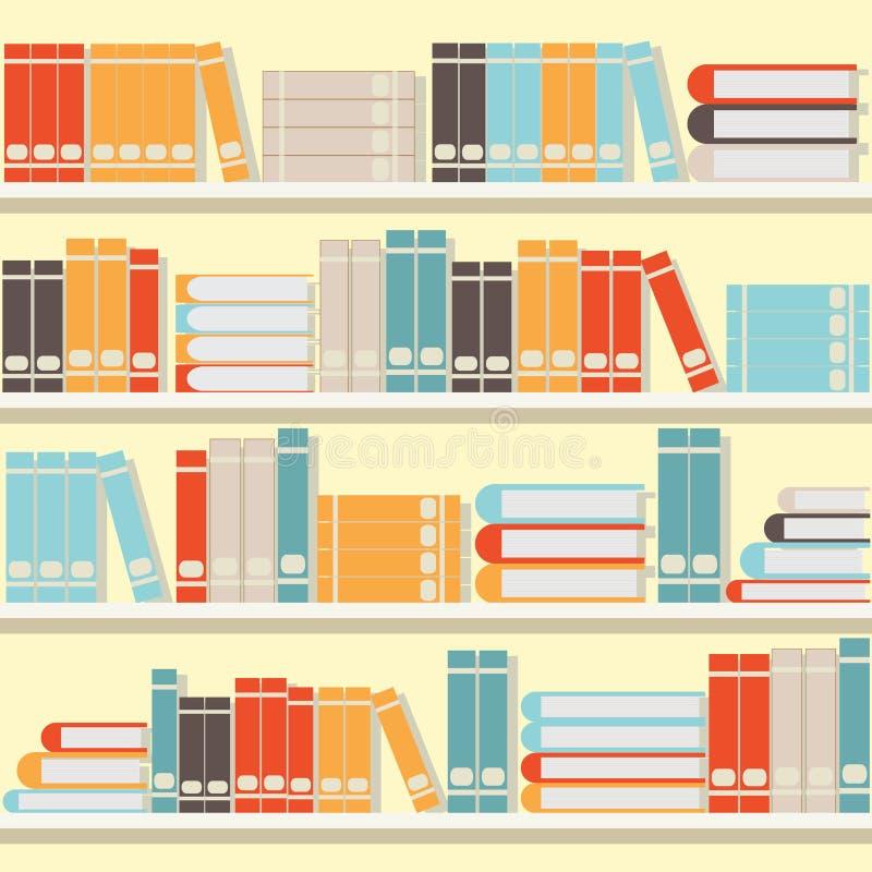 在架子、图书馆或者书店的五颜六色的书 库存例证