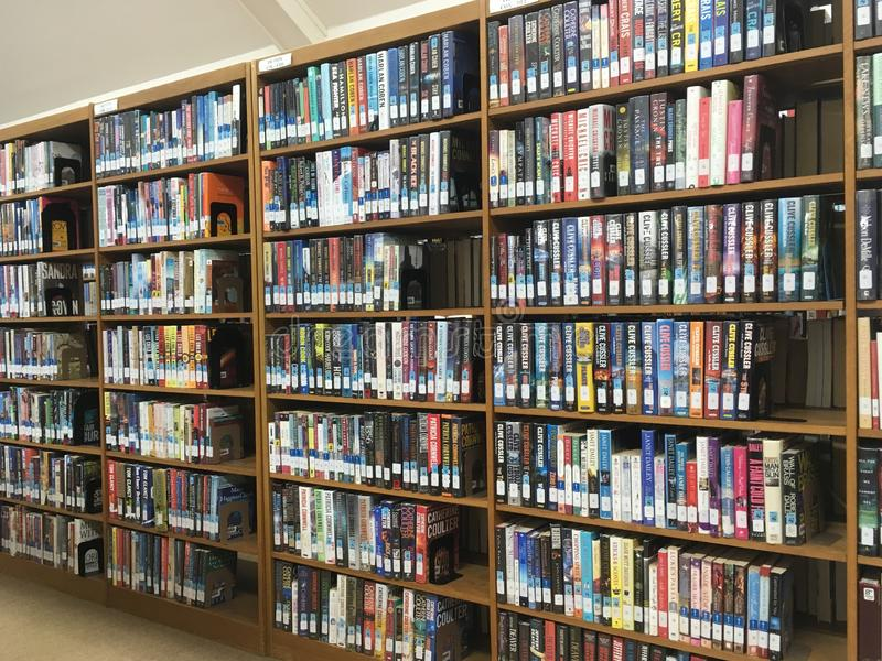 在架子的图书馆书 库存照片