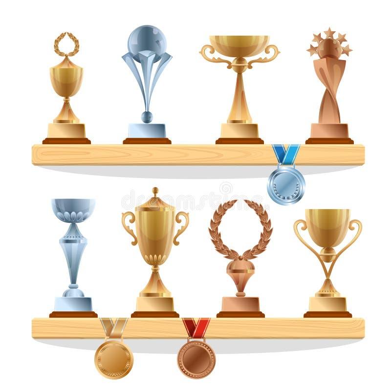 在架子的战利品汇集 金黄,古铜色和银牌和杯子 被设置的传染媒介奖 皇族释放例证