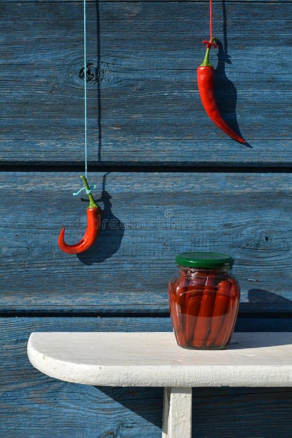 在架子的罐装玻璃瓶子和在墙壁上的炽热辣椒手 免版税库存照片