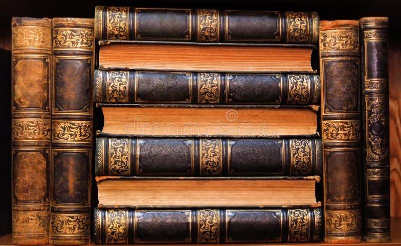 在架子的美丽的古色古香的书 免版税库存照片