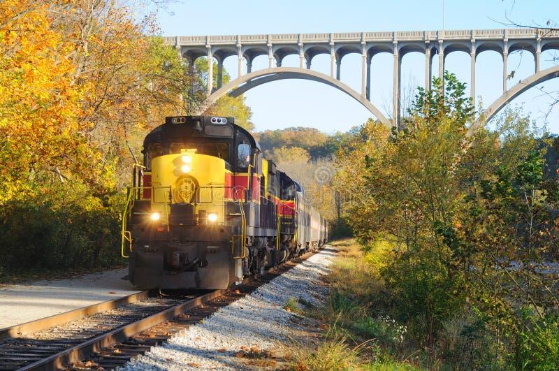 在架桥列车之下 免版税库存照片
