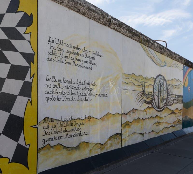 在柏林围墙的壁画在东边画廊 库存图片