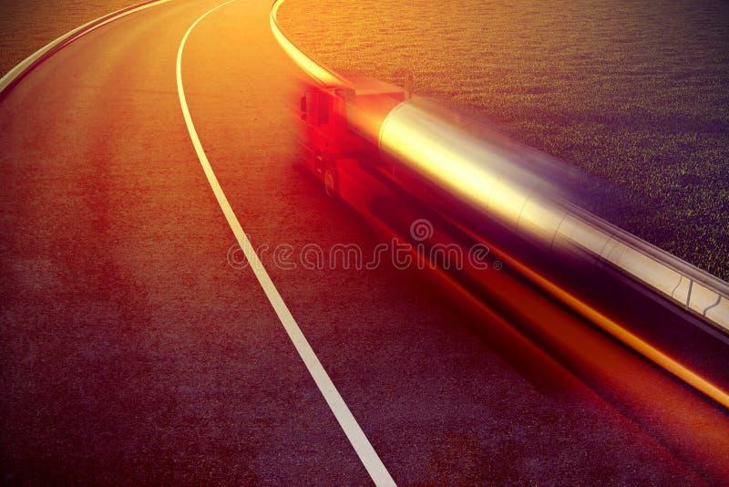 在柏油路行动迷离的快速的卡车 库存例证