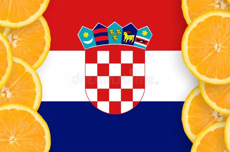 在柑桔切片垂直的框架的克罗地亚旗子 皇族释放例证