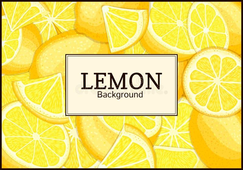 在柑橘柠檬果子背景的长方形标签 传染媒介卡片例证 库存例证
