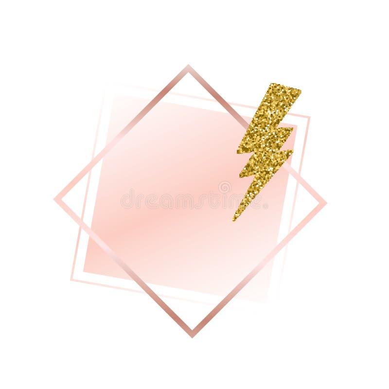 在柔和的桃红色口气的刷子冲程 柔和的淡色 罗斯金框架 抽象背景向量 发光的金黄闪电 桃红色温泉 库存例证