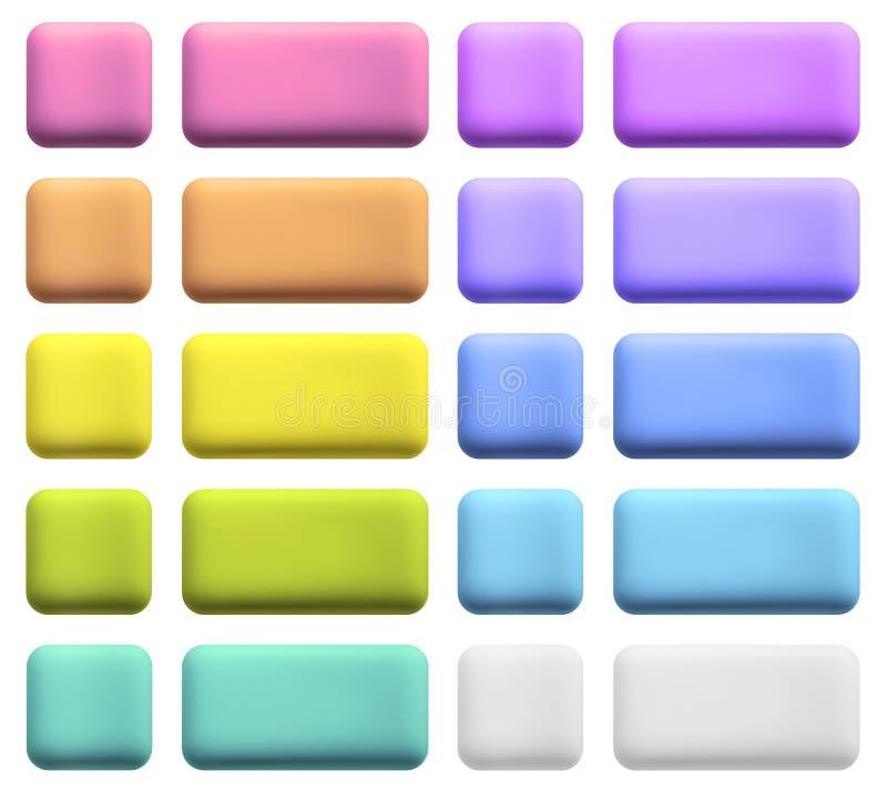 在柔和的颜色的网按钮 库存例证