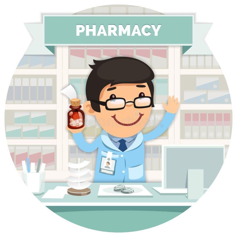 在柜台后的药商在圆的药房 向量例证