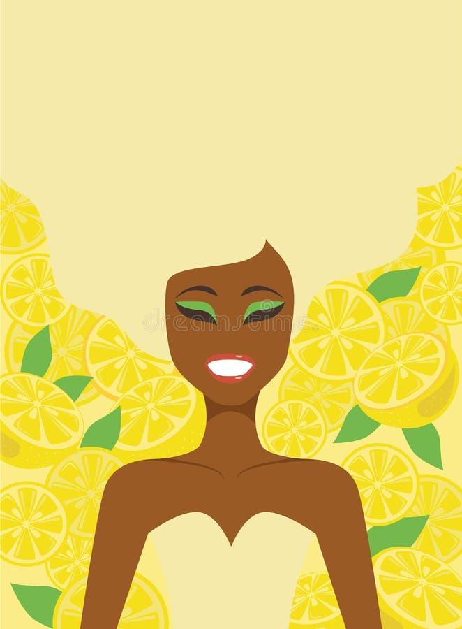 在柠檬背景的女孩 皇族释放例证