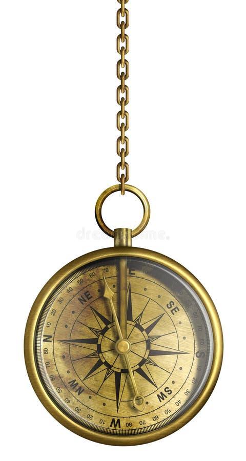 在查出的链子的黄铜古色古香的指南针 库存例证