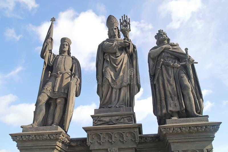 在查理大桥的古老雕塑。布拉格。St.瓦茨拉夫, 免版税图库摄影