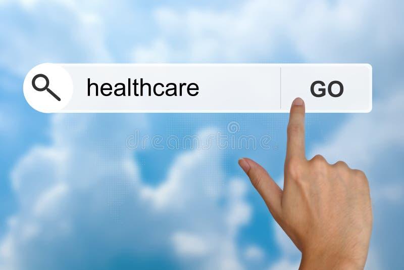 在查寻工具栏上的医疗保健 免版税库存照片