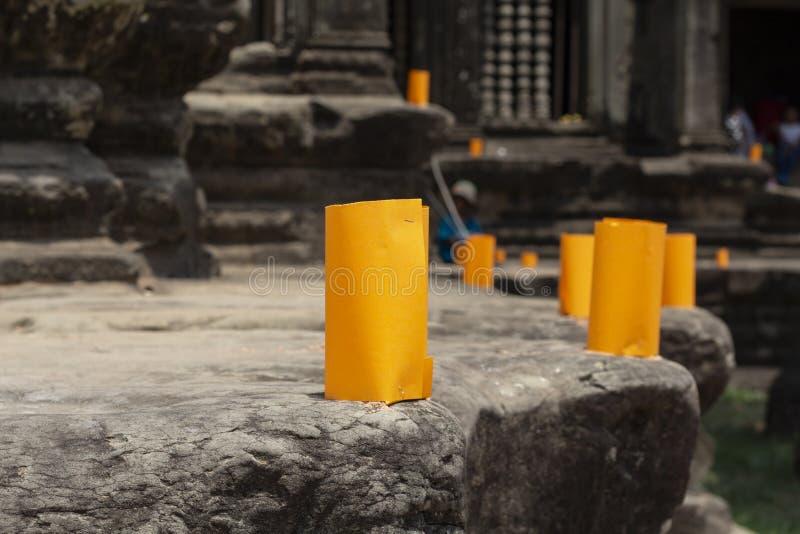 在柬埔寨寺庙的高棉新年纸灯 高棉新年庆祝传统 免版税库存照片
