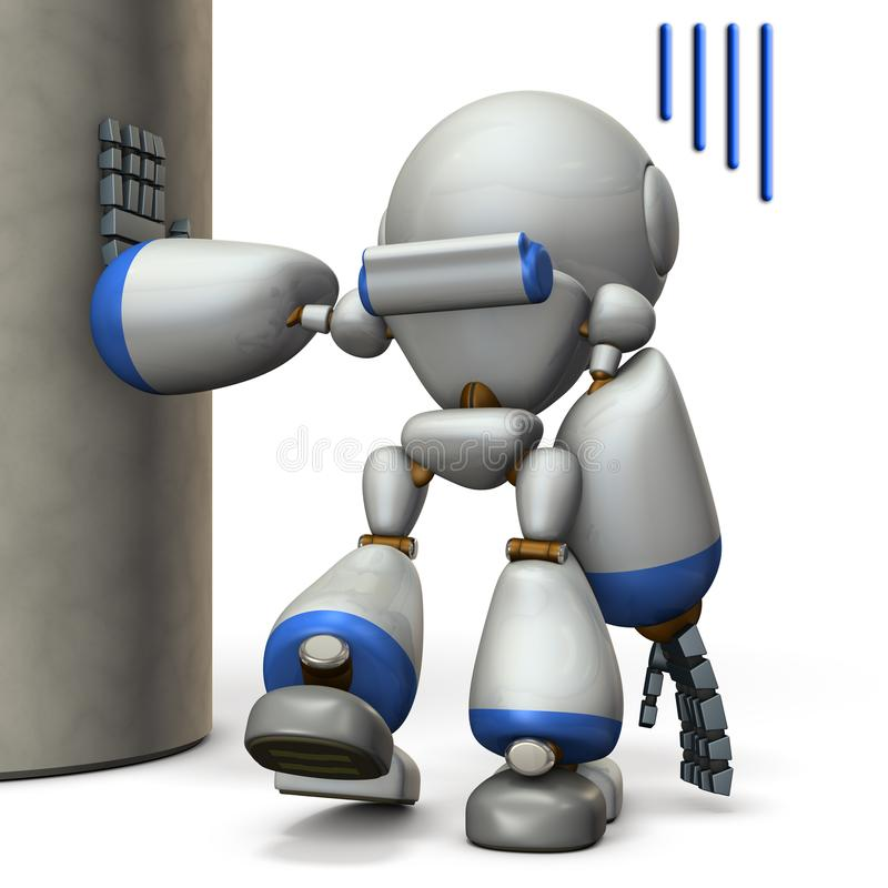 在柱子垂悬的机器人 他被用尽 向量例证