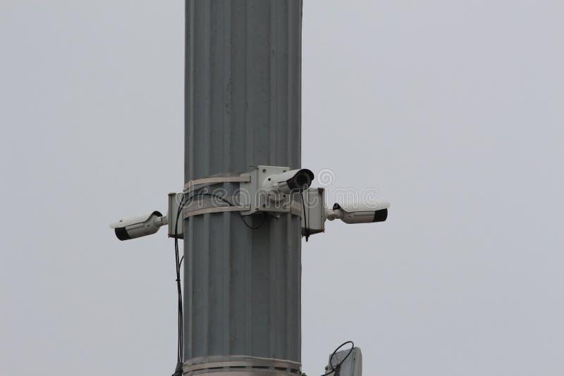 在柱子的监视器 免版税库存照片